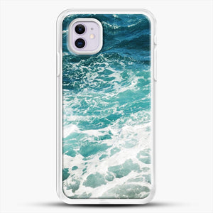 Blue Ocean Waves iPhone 11 Case, White Rubber Case | JoeYellow.com