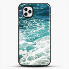 Load image into Gallery viewer, Blue Ocean Waves iPhone 11 Pro Case, Black Plastic Case | JoeYellow.com