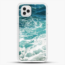 Load image into Gallery viewer, Blue Ocean Waves iPhone 11 Pro Case, White Rubber Case | JoeYellow.com