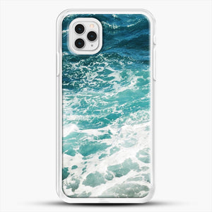 Blue Ocean Waves iPhone 11 Pro Case, White Rubber Case | JoeYellow.com