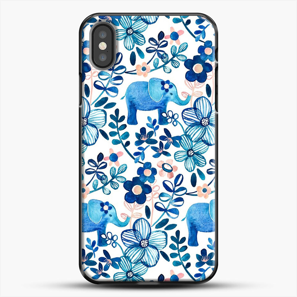 Blush Pink White And Blue Elephant And Floral Watercolor iPhone X Case, Black Plastic Case | JoeYellow.com