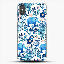 Load image into Gallery viewer, Blush Pink White And Blue Elephant And Floral Watercolor iPhone X Case, White Plastic Case | JoeYellow.com