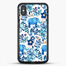 Load image into Gallery viewer, Blush Pink White And Blue Elephant And Floral Watercolor iPhone X Case, Black Rubber Case | JoeYellow.com