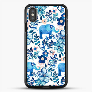 Blush Pink White And Blue Elephant And Floral Watercolor iPhone X Case, Black Rubber Case | JoeYellow.com