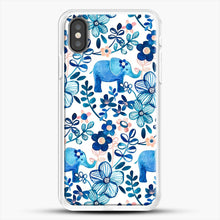 Load image into Gallery viewer, Blush Pink White And Blue Elephant And Floral Watercolor iPhone X Case, White Rubber Case | JoeYellow.com