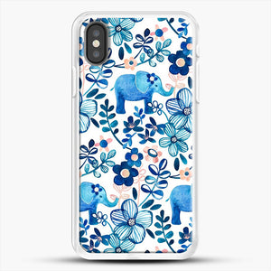Blush Pink White And Blue Elephant And Floral Watercolor iPhone X Case, White Rubber Case | JoeYellow.com