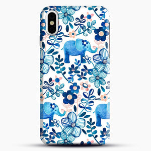 Blush Pink White And Blue Elephant And Floral Watercolor iPhone X Case, Black Snap 3D Case | JoeYellow.com