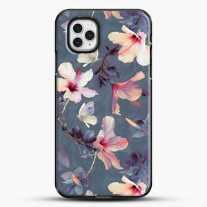 Butterflies And Hibiscus Flowers A Painted iPhone 11 Pro Case, Black Plastic Case | JoeYellow.com