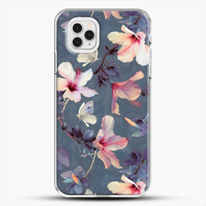 Butterflies And Hibiscus Flowers A Painted iPhone 11 Pro Case, White Plastic Case | JoeYellow.com