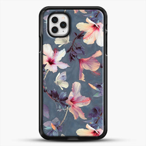 Butterflies And Hibiscus Flowers A Painted iPhone 11 Pro Case, Black Rubber Case | JoeYellow.com