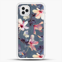 Load image into Gallery viewer, Butterflies And Hibiscus Flowers A Painted iPhone 11 Pro Case, White Rubber Case | JoeYellow.com