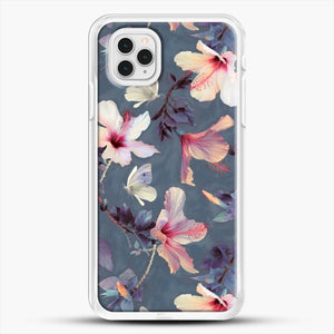Butterflies And Hibiscus Flowers A Painted iPhone 11 Pro Case, White Rubber Case | JoeYellow.com
