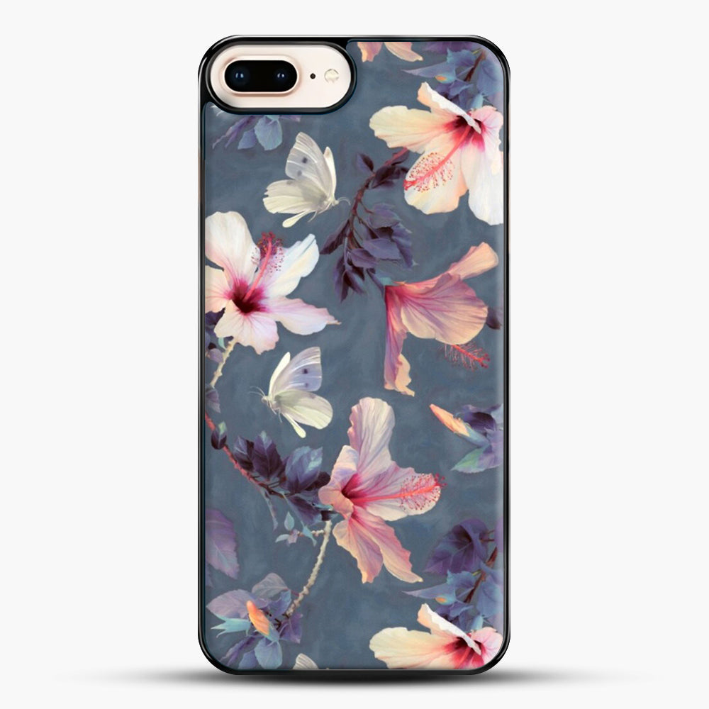 Butterflies And Hibiscus Flowers A Painted iPhone 7 Plus Case, Black Plastic Case | JoeYellow.com
