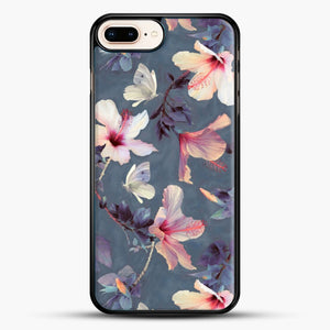 Butterflies And Hibiscus Flowers A Painted iPhone 7 Plus Case, Black Rubber Case | JoeYellow.com