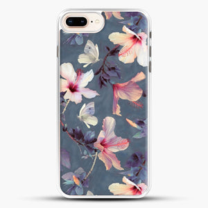 Butterflies And Hibiscus Flowers A Painted iPhone 7 Plus Case, White Rubber Case | JoeYellow.com