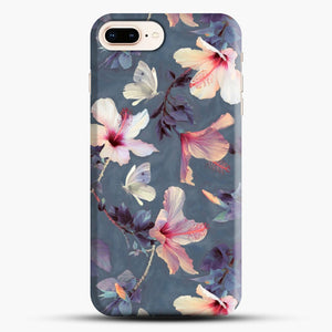 Butterflies And Hibiscus Flowers A Painted iPhone 7 Plus Case, Black Snap 3D Case | JoeYellow.com
