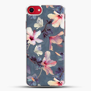 Butterflies And Hibiscus Flowers A Painted iPhone 8 Case, White Plastic Case | JoeYellow.com