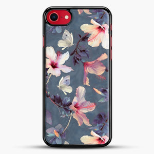 Butterflies And Hibiscus Flowers A Painted iPhone 8 Case, Black Rubber Case | JoeYellow.com