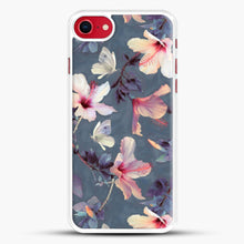 Load image into Gallery viewer, Butterflies And Hibiscus Flowers A Painted iPhone 8 Case, White Rubber Case | JoeYellow.com