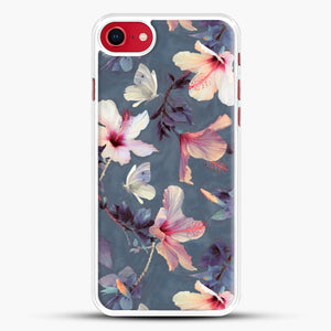 Butterflies And Hibiscus Flowers A Painted iPhone 8 Case, White Rubber Case | JoeYellow.com