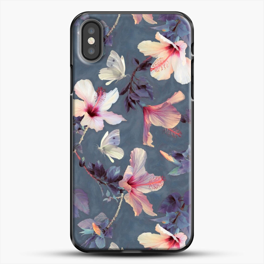 Butterflies And Hibiscus Flowers A Painted iPhone X Case, Black Plastic Case | JoeYellow.com