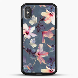 Butterflies And Hibiscus Flowers A Painted iPhone X Case, Black Rubber Case | JoeYellow.com