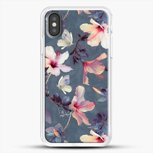 Butterflies And Hibiscus Flowers A Painted iPhone X Case, White Rubber Case | JoeYellow.com