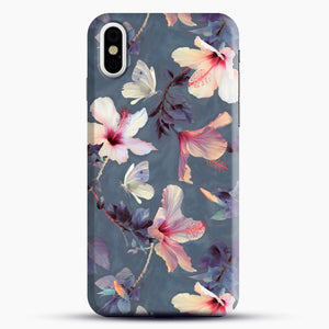 Butterflies And Hibiscus Flowers A Painted iPhone X Case, Black Snap 3D Case | JoeYellow.com