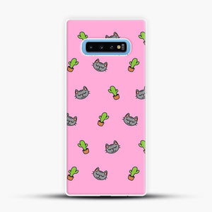 Cacti Cats Pink Background Samsung Galaxy S10 Case