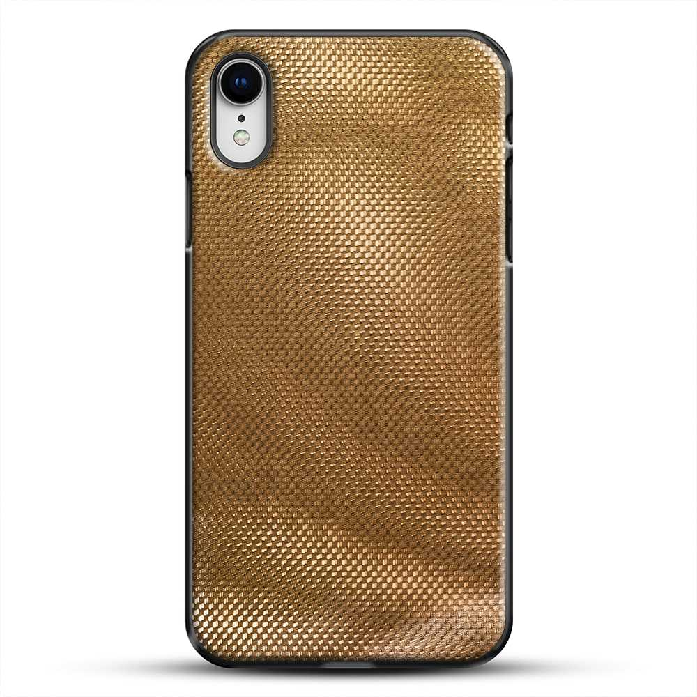 Carbon Fiber Gold Texture iPhone XR Case, Black Plastic Case | JoeYellow.com