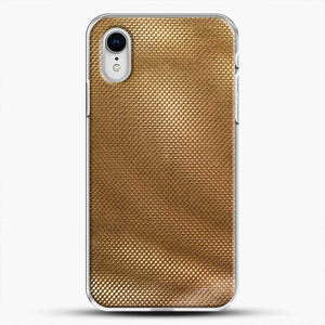 Carbon Fiber Gold Texture iPhone XR Case, White Plastic Case | JoeYellow.com