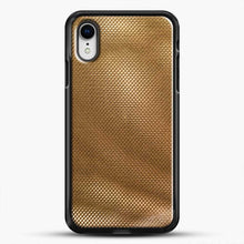 Load image into Gallery viewer, Carbon Fiber Gold Texture iPhone XR Case, Black Rubber Case | JoeYellow.com