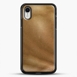 Carbon Fiber Gold Texture iPhone XR Case, Black Rubber Case | JoeYellow.com