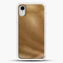 Load image into Gallery viewer, Carbon Fiber Gold Texture iPhone XR Case, White Rubber Case | JoeYellow.com