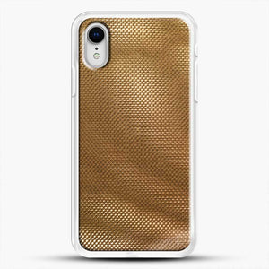 Carbon Fiber Gold Texture iPhone XR Case, White Rubber Case | JoeYellow.com