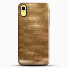 Load image into Gallery viewer, Carbon Fiber Gold Texture iPhone XR Case, Black Snap 3D Case | JoeYellow.com