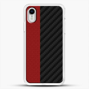 Carbon Fiber Red Mixtacth iPhone XR Case, White Rubber Case | JoeYellow.com