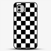 Load image into Gallery viewer, Checkered Black And White iPhone 11 Case, Black Plastic Case | JoeYellow.com