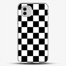 Load image into Gallery viewer, Checkered Black And White iPhone 11 Case, White Plastic Case | JoeYellow.com