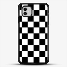 Load image into Gallery viewer, Checkered Black And White iPhone 11 Case, Black Rubber Case | JoeYellow.com