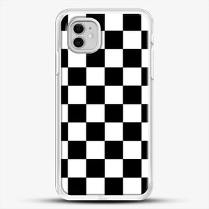 Checkered Black And White iPhone 11 Case, White Rubber Case | JoeYellow.com