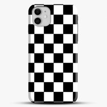 Load image into Gallery viewer, Checkered Black And White iPhone 11 Case, Black Snap 3D Case | JoeYellow.com