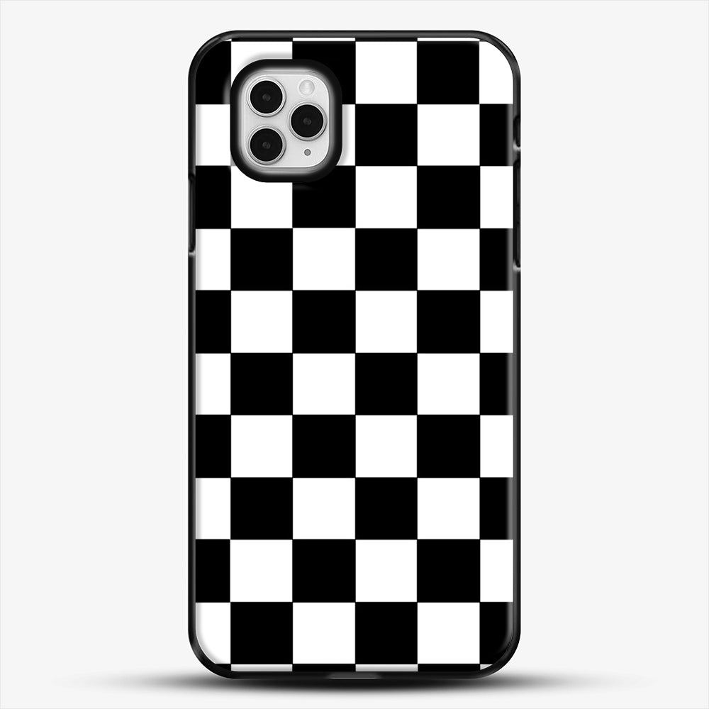 Checkered Black And White iPhone 11 Pro Case, Black Plastic Case | JoeYellow.com