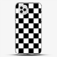 Load image into Gallery viewer, Checkered Black And White iPhone 11 Pro Case, White Plastic Case | JoeYellow.com