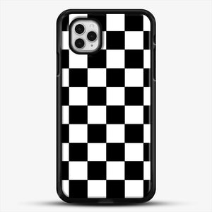 Checkered Black And White iPhone 11 Pro Case, Black Rubber Case | JoeYellow.com