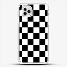 Load image into Gallery viewer, Checkered Black And White iPhone 11 Pro Case, White Rubber Case | JoeYellow.com