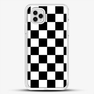 Checkered Black And White iPhone 11 Pro Case, White Rubber Case | JoeYellow.com