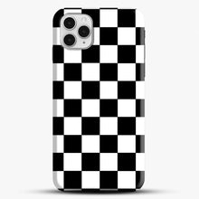 Load image into Gallery viewer, Checkered Black And White iPhone 11 Pro Case, Black Snap 3D Case | JoeYellow.com