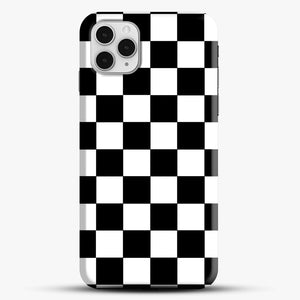 Checkered Black And White iPhone 11 Pro Case, Black Snap 3D Case | JoeYellow.com