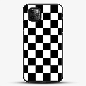 Checkered Black And White iPhone 11 Pro Max Case, Black Plastic Case | JoeYellow.com